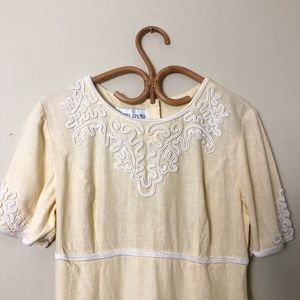 Vintage Cream White Embroidered fitted Maxi dress